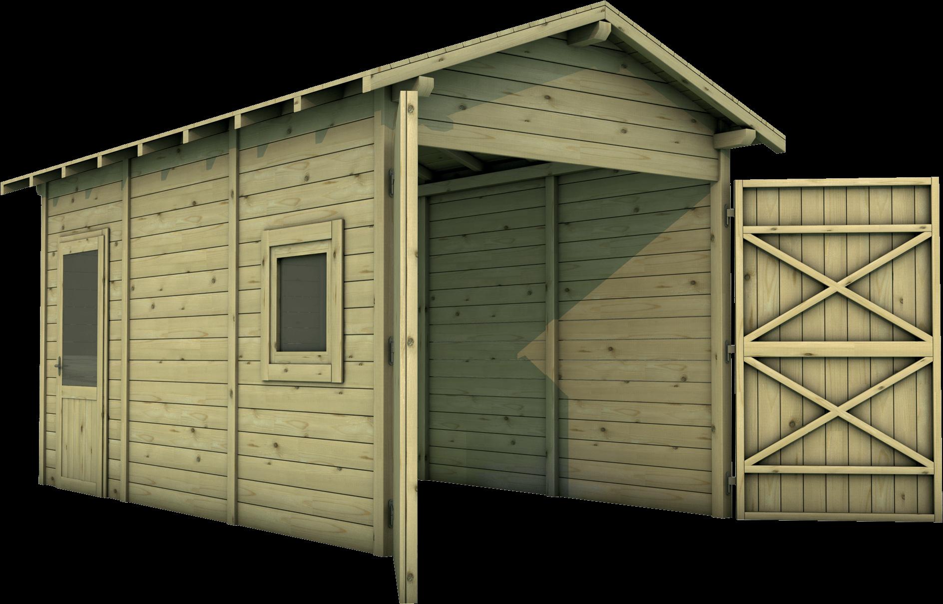 Carport in legno di pino nordico impregnato o larice realizzato da Linea Montanalegno - ILT
