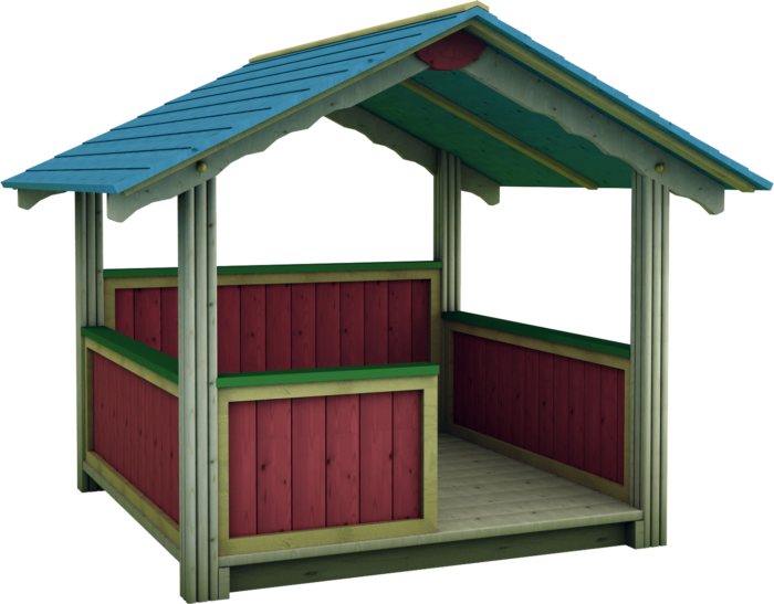 Casetta gioco per esterno in legno di pino nordico impregnato in autoclave realizzata da Linea Montanalegno - ILT