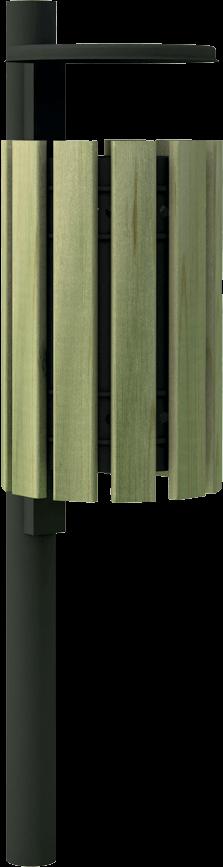 Cestino porta rifiuti in acciaio zincato e legno di pino nordico impregnato o larice realizzato da Linea Montanalegno - ILT