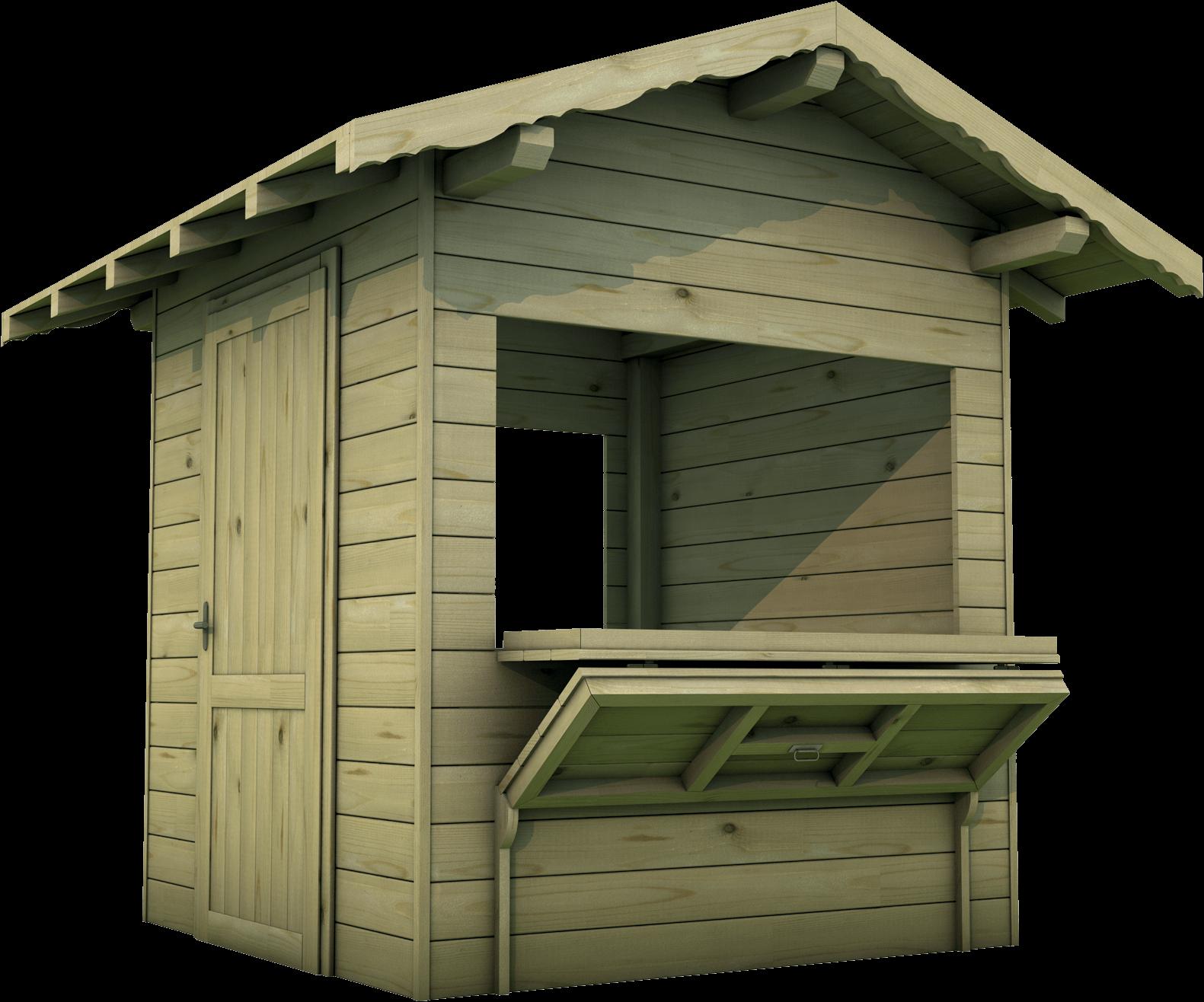 Chiosco in legno di pino nordico impregnato o larice realizzato da Linea Montanalegno - ILT