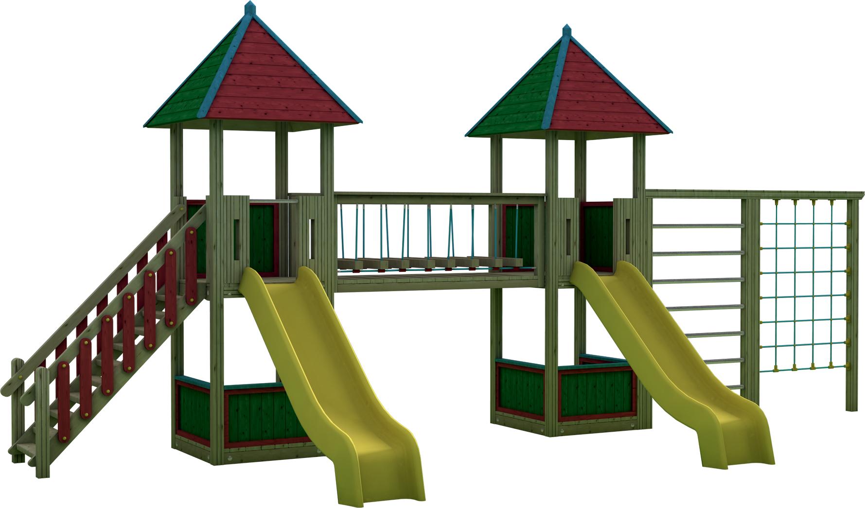 Doppia Torre gioco con ponte mobile in legno di pino nordico impregnato in autoclave realizzata da Linea Montanalegno - ILT