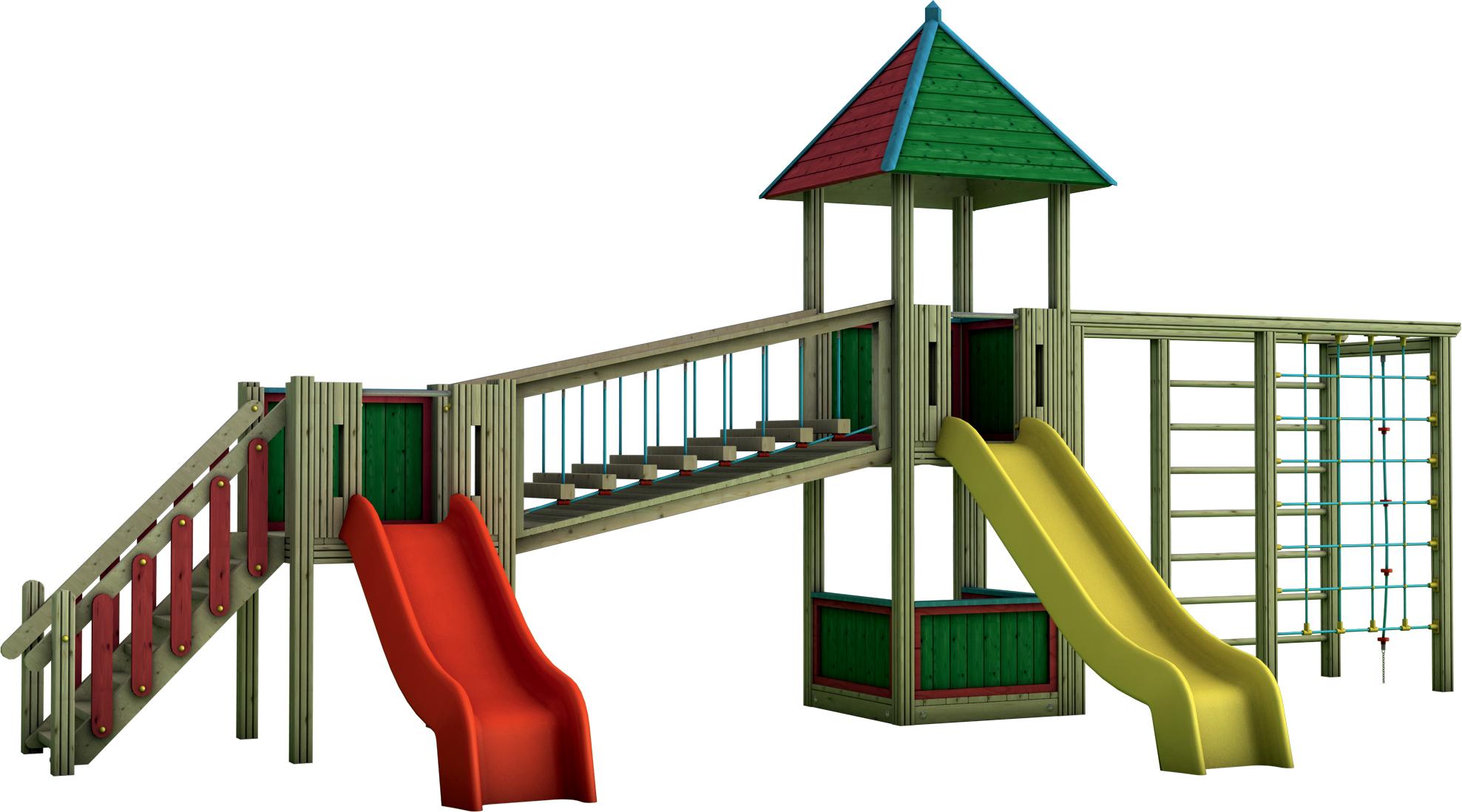 Doppia Torre gioco con ponte mobile inclinato in legno di pino nordico impregnato in autoclave realizzata da Linea Montanalegno - ILT