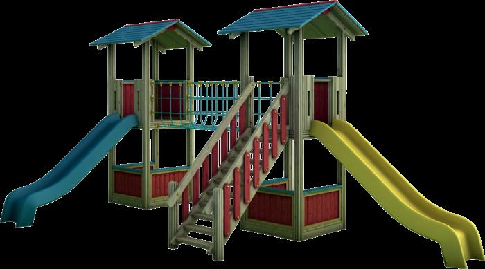 Doppia Torre gioco con ponte tibetano in legno di pino nordico impregnato in autoclave realizzata da Linea Montanalegno - ILT
