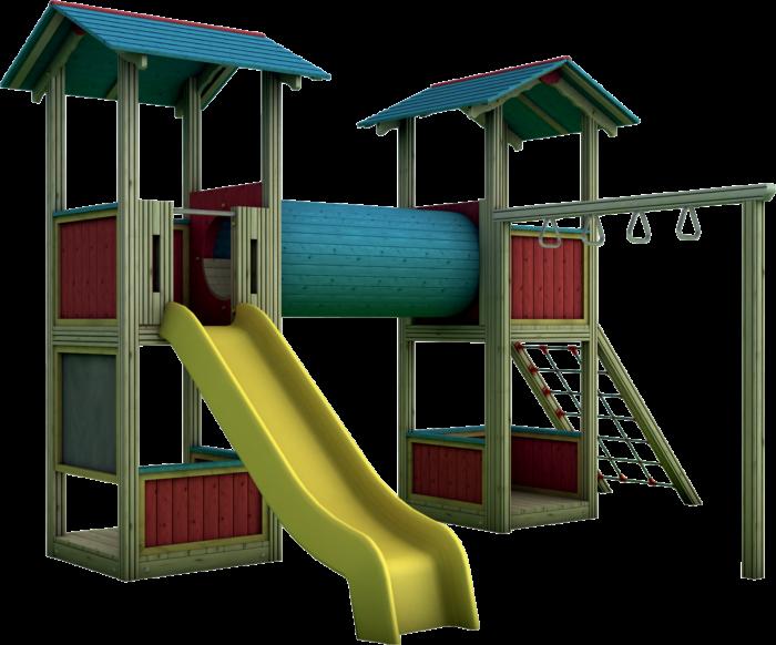 Doppia Torre gioco con tunnel in legno di pino nordico impregnato in autoclave realizzata da Linea Montanalegno - ILT