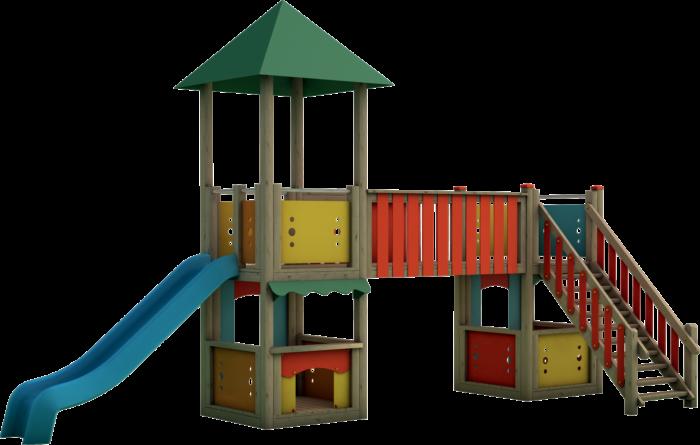 Doppia torre gioco in legno di pino nordico impregnato in autoclave realizzata da Linea Montanalegno - ILT