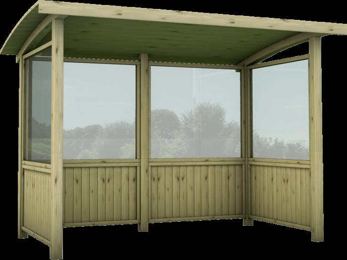 Fermata autobus in legno di pino nordico impregnato o larice realizzato da Linea Montanalegno - ILT