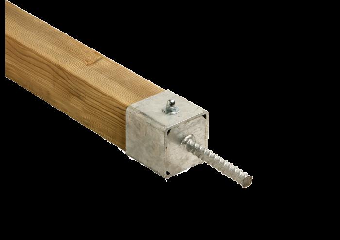 Ancoraggio piantoni in acciaio zincato con perno utilizzato e venduto da Linea Montanalegno - ILT