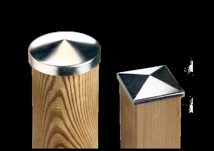 Copripilastro per pali in legno e staccionate in acciaio zincato venduto da Linea Montanalegno - ILT