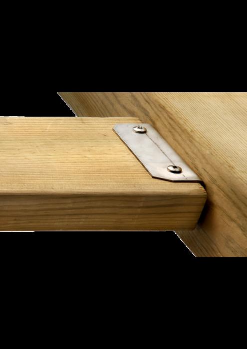 Staffa in acciaio INOX per fissaggio tavole utilizzato e venduto da Linea Montanalegno - ILT