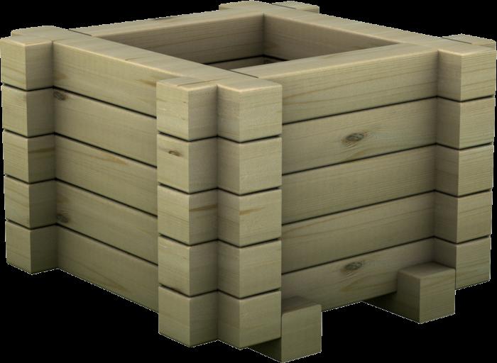 Fioriera quadrata in legno di pino nordico impregnato o larice realizzata da Linea Montanalegno - ILT