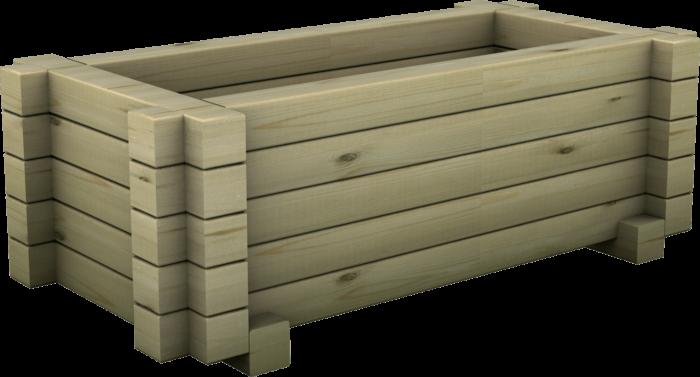 Fioriera rettangolare in legno di pino nordico impregnato o larice realizzata da Linea Montanalegno - ILT