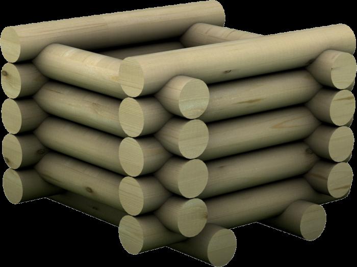 Fioriera quadrata con tondi in legno di pino nordico impregnato o larice realizzata da Linea Montanalegno - ILT