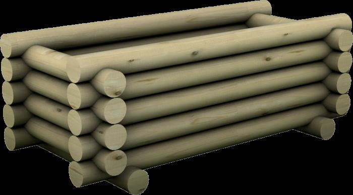 Fioriera rettangolare con tondi in legno di pino nordico impregnato o larice realizzata da Linea Montanalegno - ILT