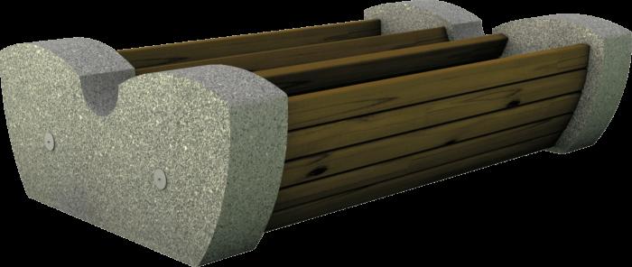 Panchina in legno di pino nordico impregnato e basamento in cemento e pietra realizzata da Linea Montanalegno