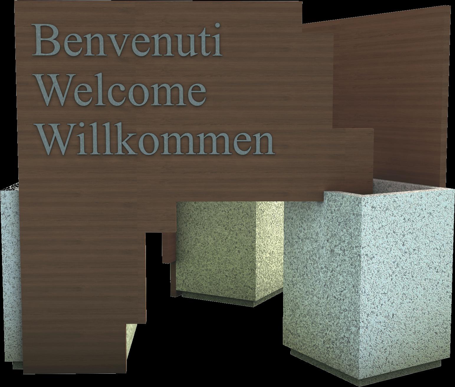 Bacheca di benvenuto ingresso città in legno di pino nordico impregnato o larice realizzato da Linea Montanalegno - ILT