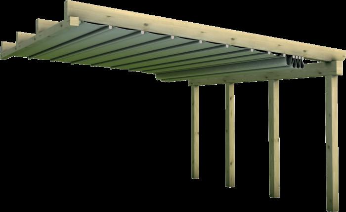 Pergola a muro in legno di pino nordico impregnato o larice realizzata da Linea Montanalegno - ILT