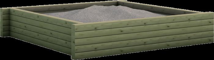 Sabbiaia gioco per esterno in legno di pino nordico impregnato in autoclave realizzata da Linea Montanalegno - ILT