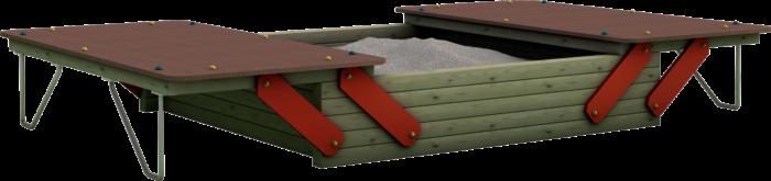 Sabbiaia gioco con coperchi per esterno in legno di pino nordico impregnato in autoclave realizzata da Linea Montanalegno - ILT