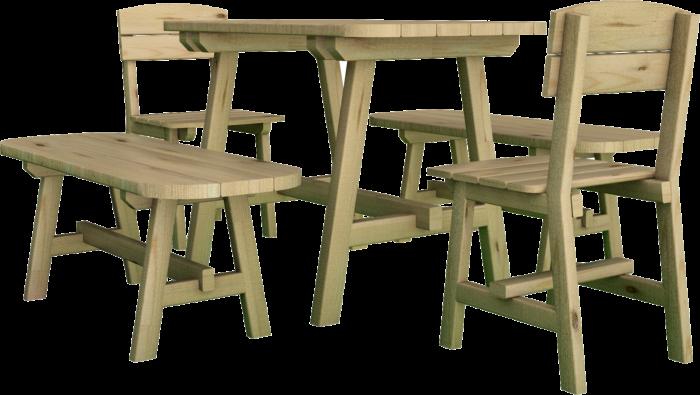 Set Tavolo panca e sedia in legno di pino nordico impregnato realizzato da Linea Montanalegno - ILT
