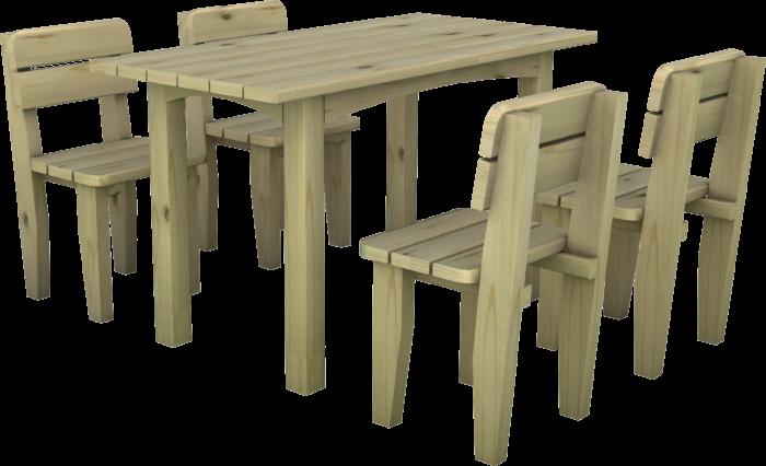 Set tavolo e sedie in legno di pino nordico impregnato realizzato da Linea Montanalegno - ILT