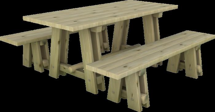 Set tavolo e panchine in legno di pino nordico impregnato realizzato da Linea Montanalegno - ILT