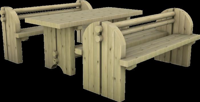 Set tavolo e panche in legno di pino nordico impregnato o larice realizzato da Linea Montanalegno - ILT