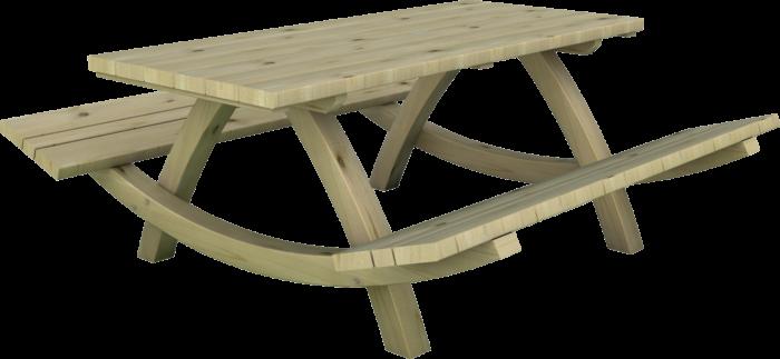 Tavolo con panche integrate in legno di pino nordico impregnato in autoclave realizzato da Linea Montanalegno - ILT
