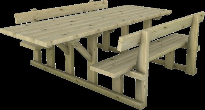 Tavolo in legno di pino impregnato o larice con estensione per disabili realizzato da Linea Montanalegno - ILT