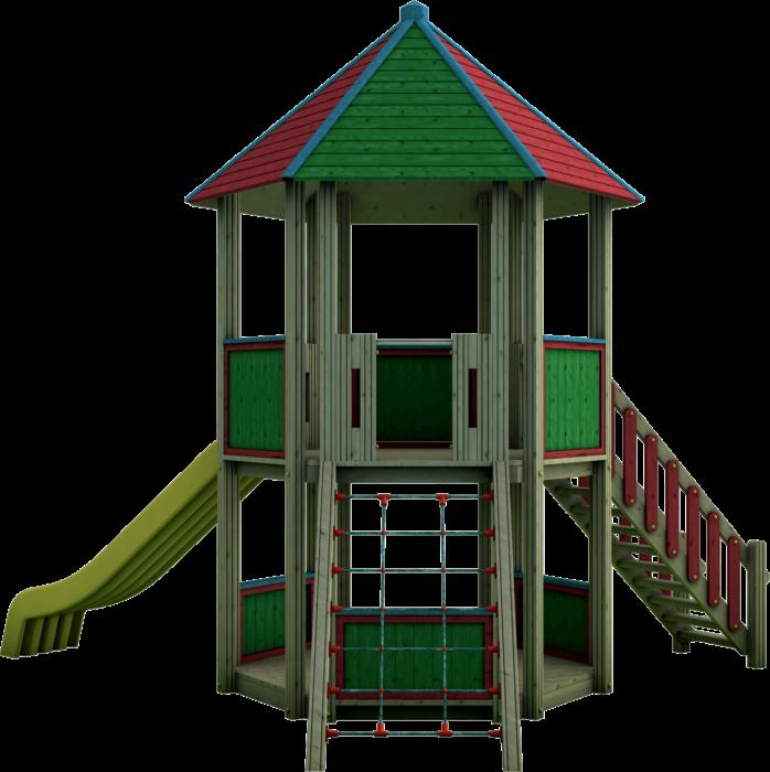 Torre gioco esagonale in legno di pino nordico impregnato in autoclave realizzata da Linea Montanalegno - ILT