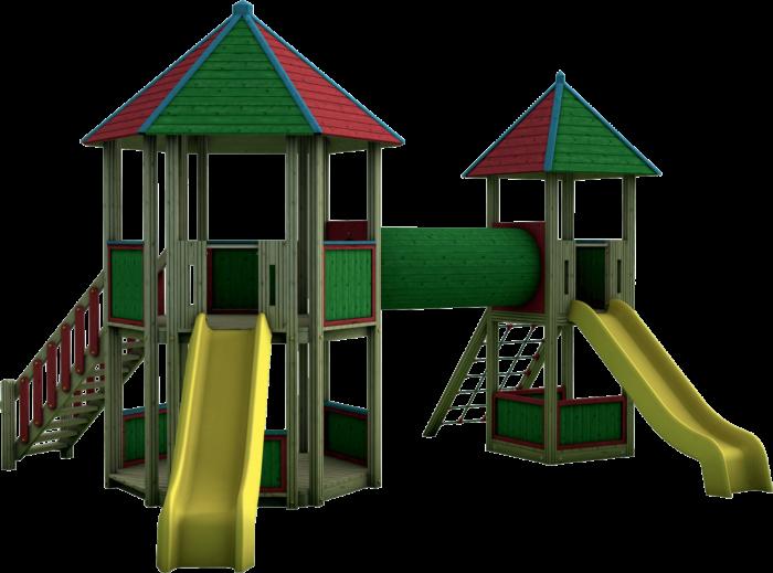 Torre gioco esagonale con tunnel in legno di pino nordico impregnato in autoclave realizzata da Linea Montanalegno - ILT