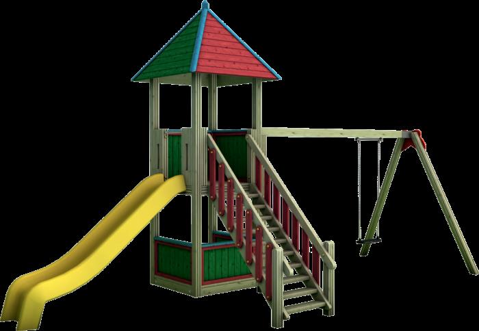 Torre gioco con altalena in legno di pino nordico impregnato in autoclave realizzata da Linea Montanalegno - ILT