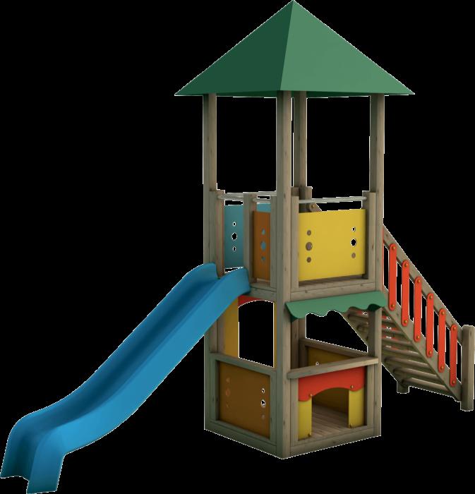 Torre gioco in legno di pino nordico impregnato in autoclave realizzata da Linea Montanalegno - ILT