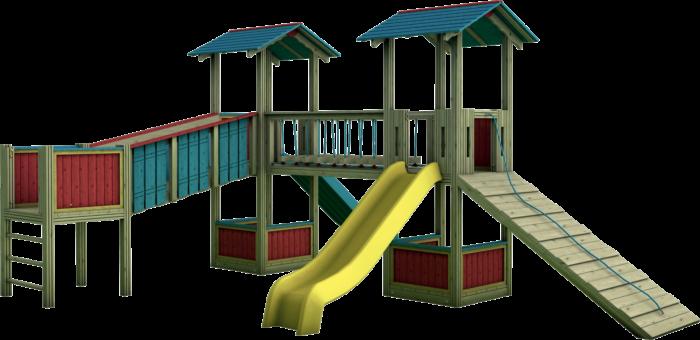 Tripla Torre gioco con ponte mobile in legno di pino nordico impregnato in autoclave realizzata da Linea Montanalegno - ILT