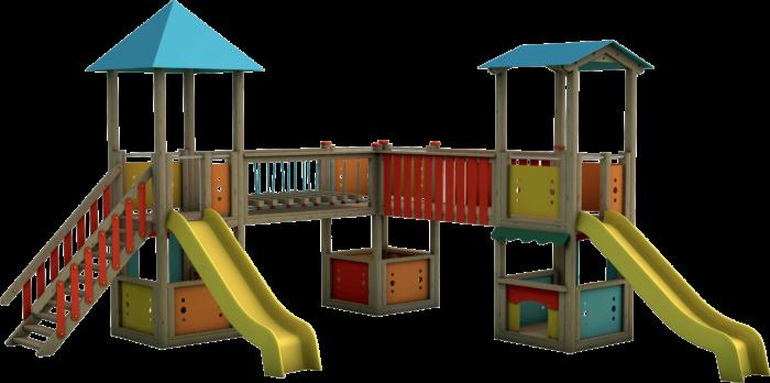 Tripla torre gioco in legno di pino nordico impregnato in autoclave realizzata da Linea Montanalegno - ILT