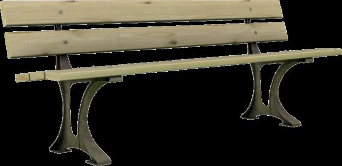 Panchina in legno con basamento in ghisa realizzata da Linea Montanalegno - ILT