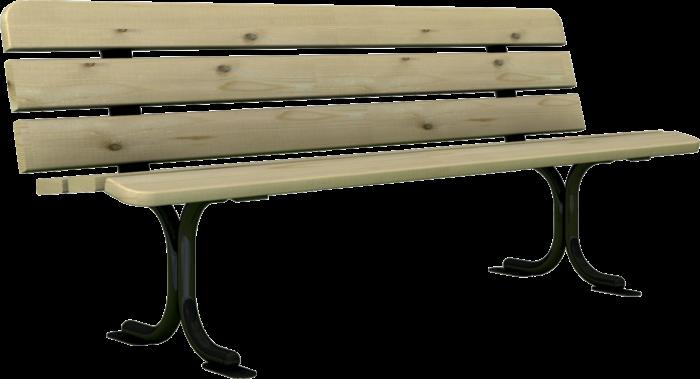 Panchina in legno di pino e basamento in acciaio zincato realizzata da Linea Montanalegno