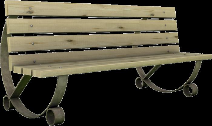 Panchina per esterno in legno impregnato in autoclave e basamento in ghisa realizzata da Linea Montanalegno - ILT