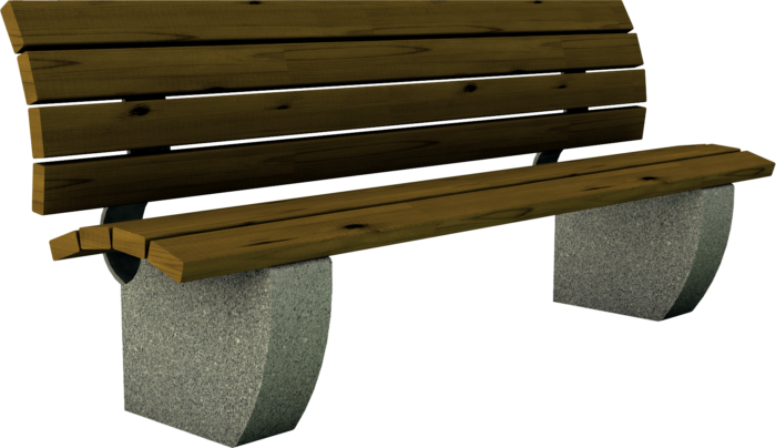 Panchina in legno di pino o larice e basamento in granulato di pietra realizzata da Linea Montanalegno