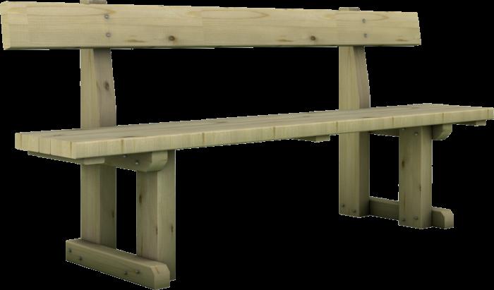 Panchina in legno di pino nordico impregnato realizzata da Linea Montanalegno